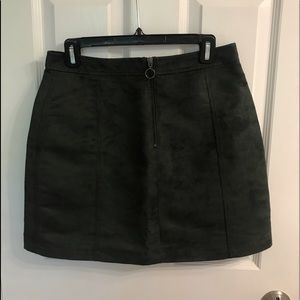 army green suede skirt